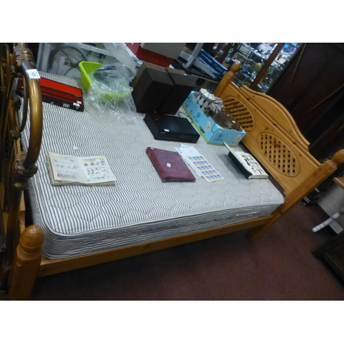 618 - PINE FRAME DOUBLE BED AND MATTRESS...
