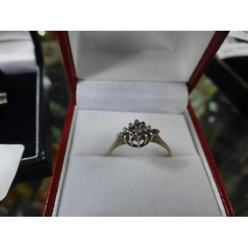 319 - 9CT RUBY, DIAMOND RING (P)...