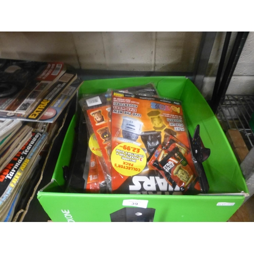 39 - BOX LOT OF STAR WARS ITEMS...