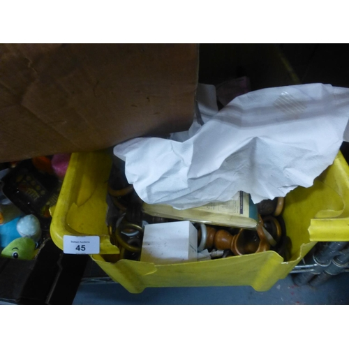 45 - BOX OF CURTAIN ACCESSORIES...
