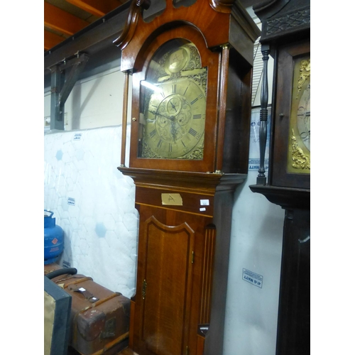 525 - BRASS DIAL GRANDFATHER CLOCK WITH MAHOGANY INLAID CASE