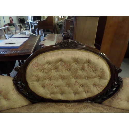 98 - Victorian Parlour Suite, 2 Chairs and 1 Sofa  in Gold Damask Button Back Upholstery with Mahogany Su...