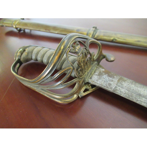 102 - British George V Pattern Officers Sword with Sharkskin Grip with Brass Scabbard...
