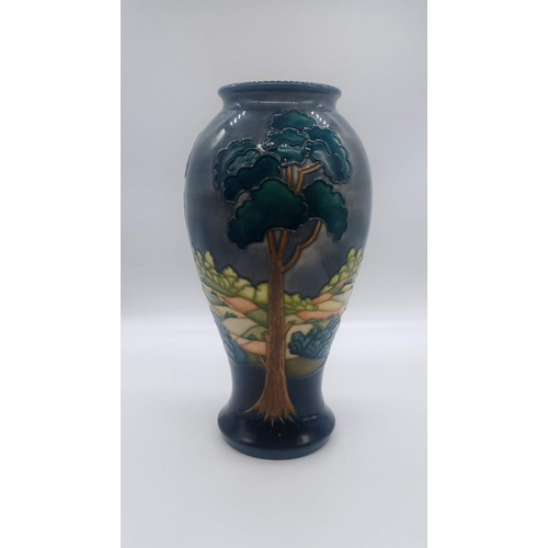 1 - A very rare Walter Moorcroft Trial Vase. Decorated with three tall trees in a continuous landscape a...
