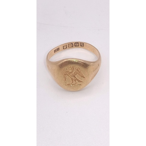 3 - 18ct Gold Signet Ring with Eagle Emblem 7.5 Grams...