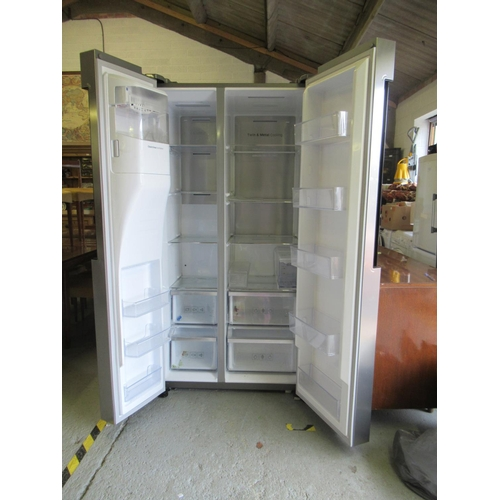 454 - Silver Samsung Upright American Style Fridge Freezer...