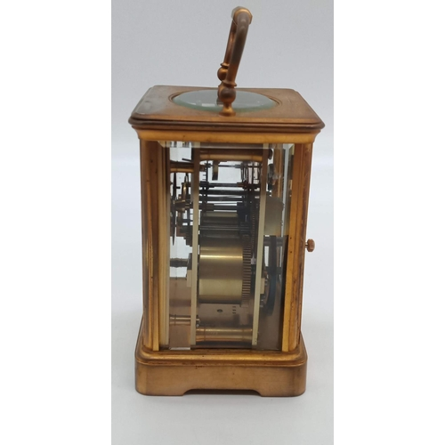 2 - A FRENCH BRASS CORNICHE-CASED CARRIAGE CLOCK Retailed by Goldsmiths' Company, Circa 1900-10. Having ...