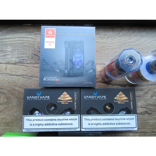 8 - An assortment of vaping hardware, Tanks and Mods, Batteries and Cotton etc - Approx £120 Retail...