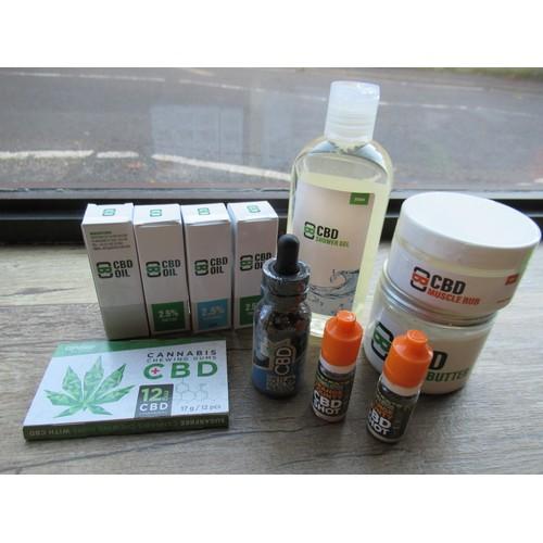 7 - A Selection of CBD Medicinal Legal Cannibis Products. Oils, Muscle Rubs, Shower Gel, Pet Calm etc RR...