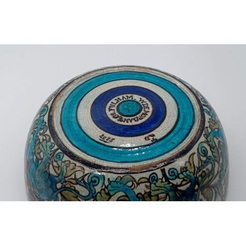 19 - A Rare William De Morgan Iznik Ware Bowl featuring a Fantastical Medevial Griffin in Persian Pallett...
