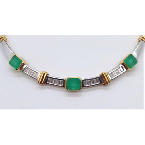 26 - An Estate Quality 18ct Gold, Diamond and Natural Columbian Emerald Necklace; Three 'Emerald' Cut Eme...