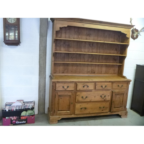144 - Vintage Pine Dresser - 6 Drawer, 2 Cupboard with 3 Shelf Top 212 x 181 x 48 cm...