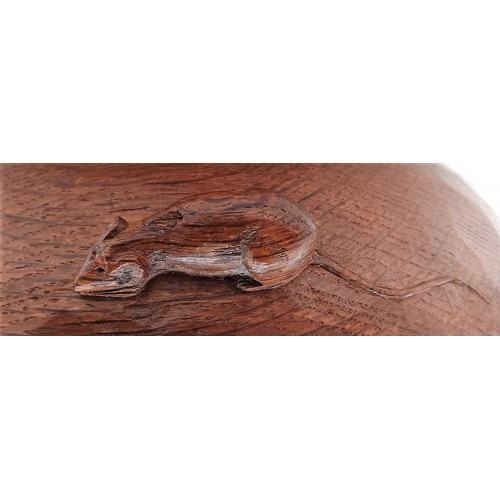 1 - 1950's Robert 'Mouseman' Thompson Carved Oak Fruit Bowl with trade mark mouse carved on the rim - 24...