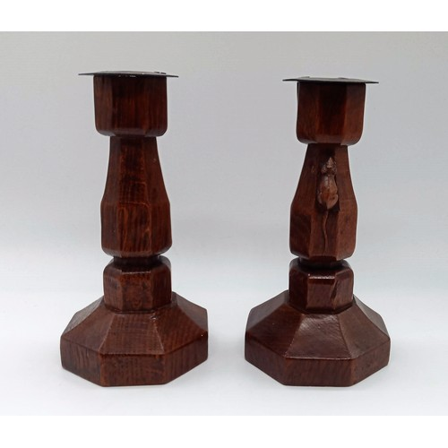 2 - A Pair of Robert 'Mouseman' Thompson Oak Candlesticks Given by Robert Thompson to his Housekeeper Al...