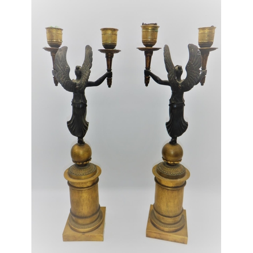 1 - A Pair of Early 19th Century French Empire Candalabras in the style of Pierre-Philippe Thomire. Pati...