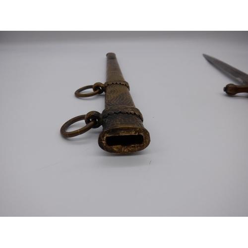 16a - A World War II German WKC Navy Kriegsmarine Dagger with Orange Grip ( Damaged), Deluxe Scabbard ( Sl...