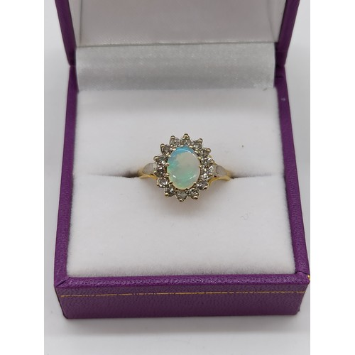10 - Hallmarked 18ct Gold Opal and Diamond Ring Size L/M 3.70 grams