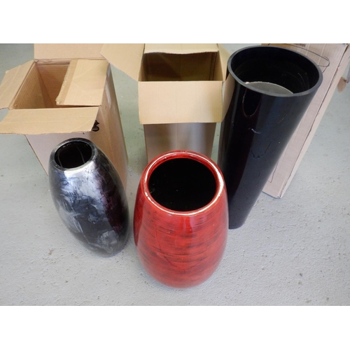 4 - 3 x Vases - A Black Cylindrical Vase 90cm Height, a Red Laqcuer vase and a Black Lacquer Vase