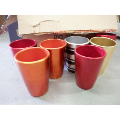 43 - Assorted Red and Other Coloured Lacquer Pots x 14, 20cm x 14cm Diameter Approx.