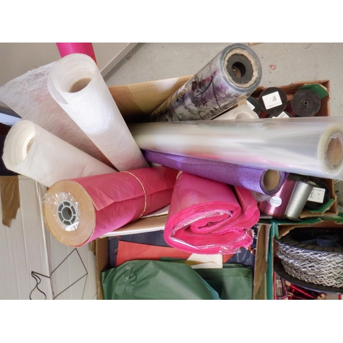 50 - Large Quantity of Floristry Ribbons, Wrapping Paper, Wire and Boxes