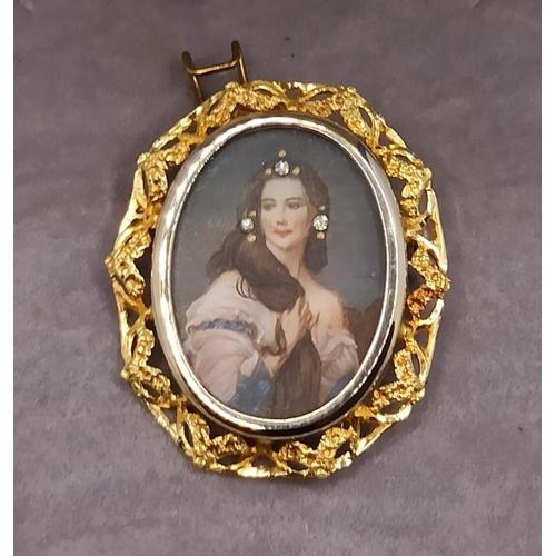 2 - Hallmarked 18 Carat Gold Hand Painted Portrait  Pendant  Brooch 6 Grams