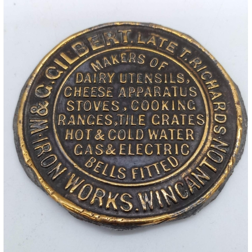 4 - Local Interest - A Metal / Brass Plaque W & G Gilbert Late Thomas Richards Iron Works, Wincanton, Ma...