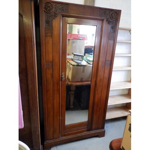 88 - An Edwardian Carved Wardrobe with Mirror Door 98 x 198 x 42cm