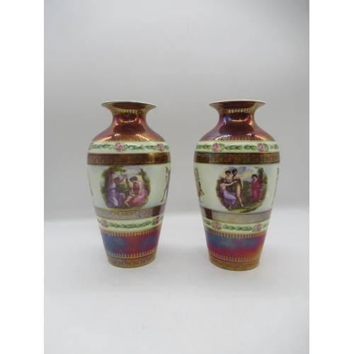 47 - A Pair of antique German Dresden Royal Rudolstadt Beyer & Bock Porcelain Vases depicting Nymps and S...