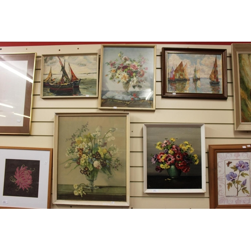 15 - 2x shipping scene paintings with 3x various still life's...