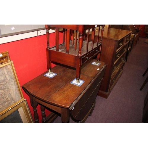 28 - 1x oak gate leg dining table with mahogany magazine rack...
