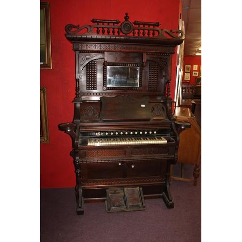 36 - 1x victorian mahogany bellow organ...