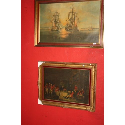 37 - 1x large shipping scene by T Dyer & 1x country club gentleman scene...