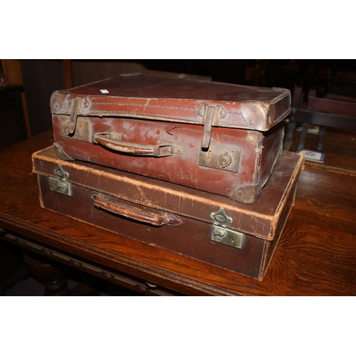 40 - 2x small leather suitcases...