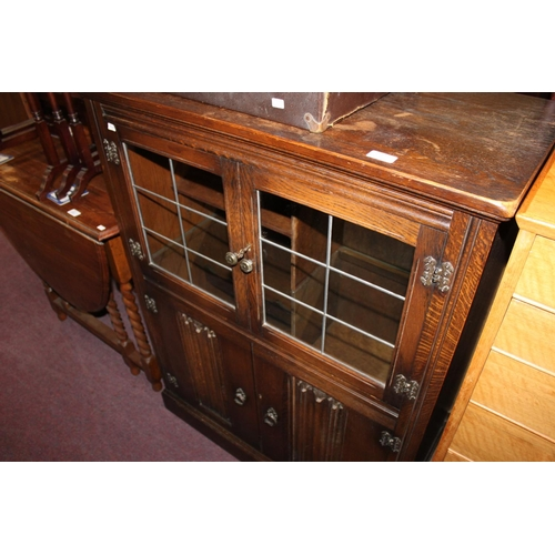 60 - 1x priory style dark oak display cupboard...