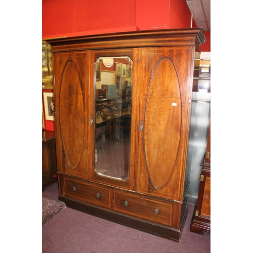 8 - 1x Edwardian inlaid double wardrobe with mirrored front...