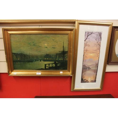 45 - 1x harbour print & water colour golden light...