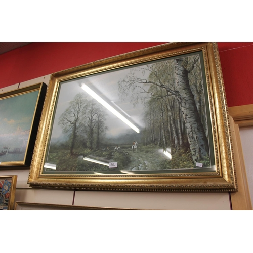 54 - 1 x large framed hunting scene  print by ceaser 1978...
