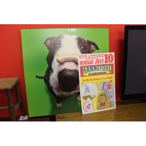 52 - 1 x dog poster with hanneford circus poster...