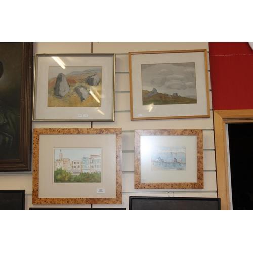 26 - 4 x various scene watercolor paintings by various artists...