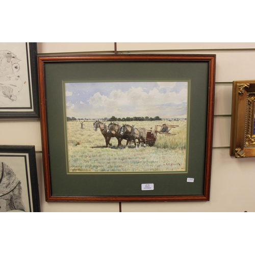 31 - 1 x shire horse water colour by e clark...