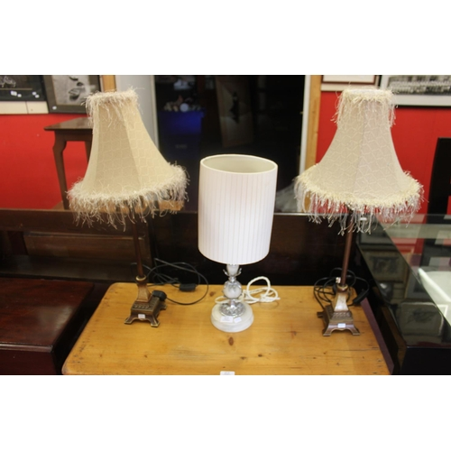 54 - 3 x various side table lamps...