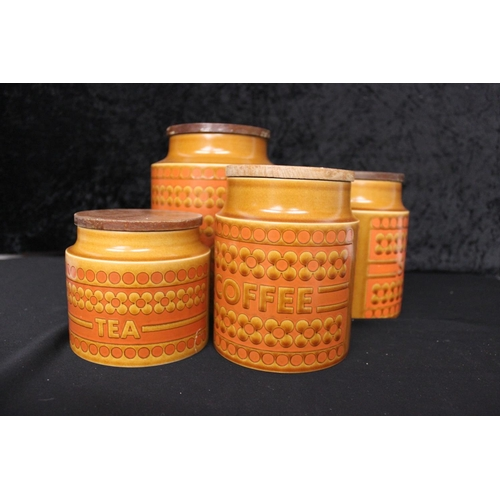 12 - 4 x various pieces of hornsea pottery ware items coffee,tea sugar and biscuit barrel...