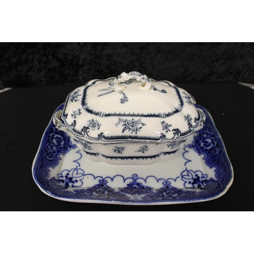 178 - 1 x victorian blue and white ware meat plate with lowestoft tureen...
