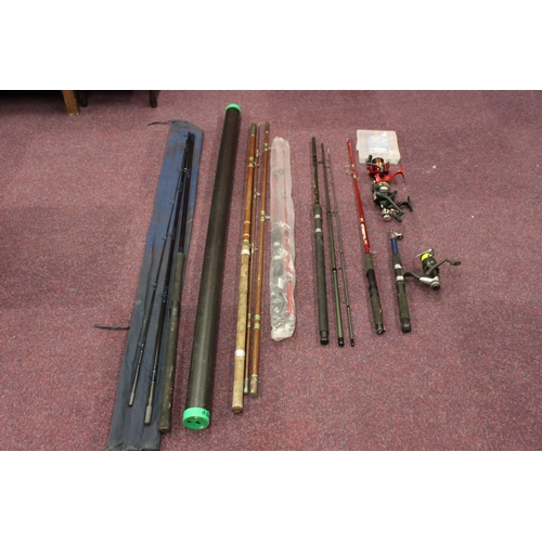 186 - selection of various river fishing rods and reels...