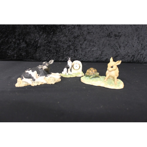 22 - 1 x border fine arts hare and tortoise figure with border collie and cow figure...