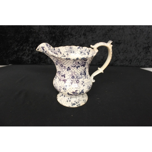 86 - 1 x victorian blue and white transfer water jug...