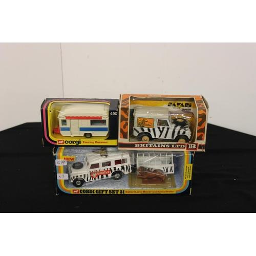 357 - 2 x boxed corgi models gift set 31 safari land rover and touring caravan and Britain's safari land r...