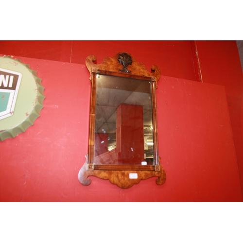 16 - 1 x Edwardian bur walnut veneer wall mirror...