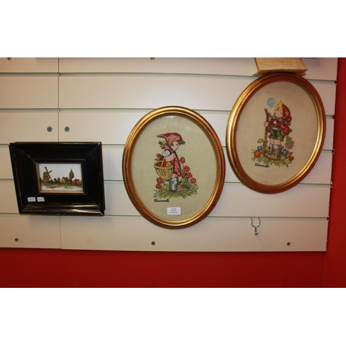 21 - 1 x ceramic Belgium tile made with stamps with 2 x Hummel embroideries framed...