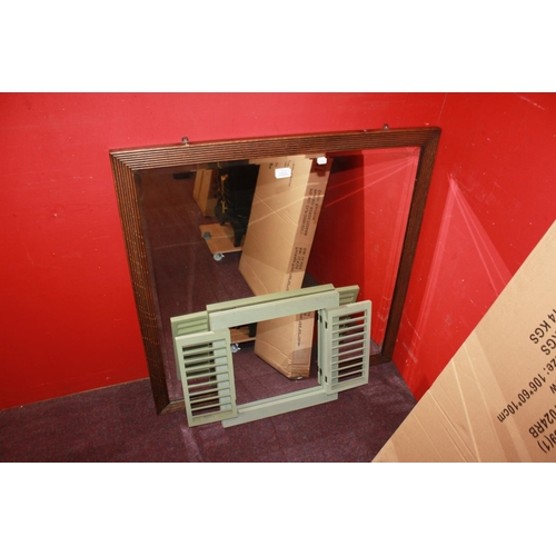 22 - 1 x large pine stained frame mirror with small mirror...